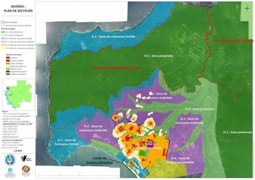 The Akanda Sector Plan or Plan de Secteur d'Akanda, with the red-centered clusters representing the Master Plan area.