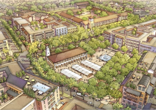 A market-centered neighborhood in the Akanda Master Plan, rendering courtesy if Opticos