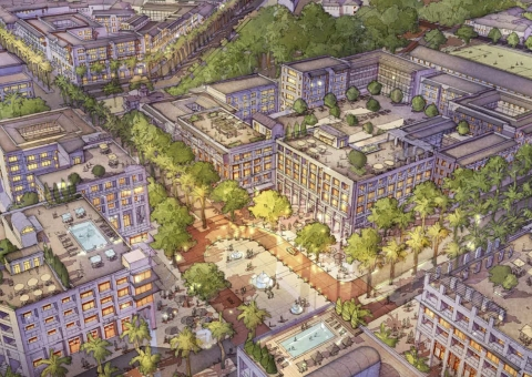 A commercial center in the Akanda Master Plan, rendering courtesy if O